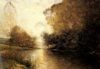 Alfred Wahlberg : A Moonlit River Landscape with a Figure