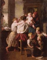 Ferdinand Georg Waldmuller : Children Making Their Grandmother a Present on Her Name Day