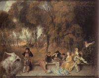 Jean-Antoine Watteau : Merry Company in the Open Air