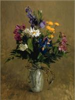 William Whitaker : Pewter Vase with Flowers