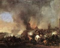 Philips Wouwerman : Cavalry Battle in front of a Burning Mill