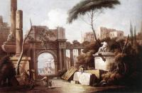 Giuseppe Zais : Ancient Ruins with a Great Arch and a Column