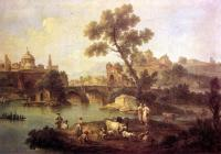 Giuseppe Zais : Landscape with River and Bridge