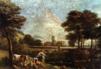 Giuseppe Zais : Landscape with Shepherds and Fishermen