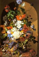 Leopold Zinnogger : A Still Life with Flowers and Grapes