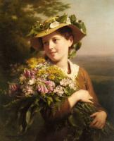 Fritz Zuber-Buhler : A Young Beauty holding a Bouquet of Flowers
